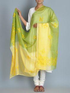 Lime-Yellow Kota Doria Cotton Zari Phool Patti Chikankari Embroidered Dupatta