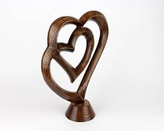 Wood sculpture Woodcarving Heart Love Gift for her Two
