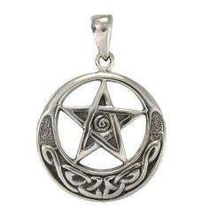 Sterling Silver Celtic Knot Crescent Moon Pentacle Pendant