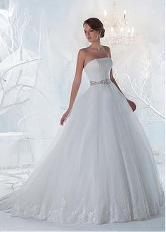 Marvelous Lace Tulle Strapless Neckline A Line Wedding Dresses With Beadings Rhinestones