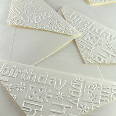 """embossed envelope flaps using the birthday words embossing folder ... like how she placed """"birthday"""" perfectly at the upper left ..."""