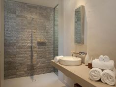 Exposed brick in a bathroom design from an Australian home - Bathroom Photo