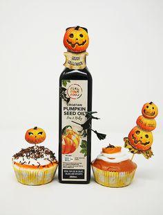 Perfect Halloween Pumpkin Muffins  Ingredients: • 1 3/4 cups all-purpose flour • 1 cup sugar • 1/2 cup dark brown sugar • 1 teaspoon baking soda • 1/2 teaspoon salt • 2 teaspoons cinnamon • 1/4 teaspoon ground cloves • 1/4 teaspoon nutmeg • 2 eggs • 300 g pure pumpkin puree • 1/2 cup coconut oil, melted • 1 teaspoon of your favourite     Croatian Pumpkin Seed Oil  • 1 teaspoon vanilla extract. Pumpkin Seed Oil, Pumpkin Puree, 2 Eggs, Halloween Pumpkins, 1 Cup, Trick Or Treat, Brown Sugar, Baking Soda, Dark Brown