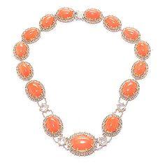 "152-133 - Gems en Vogue 20"" 7.36ctw Salmon Coral & White Topaz Collar Necklace"