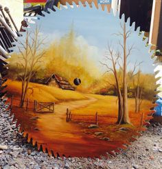 Folk Art Painted Saw Mill blade