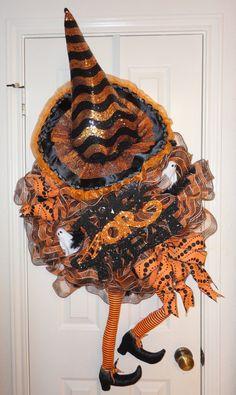 Crazy Legs E Witch Halloween Deco Mesh Wreath by RamonaReindeer, $65.00 Halloween Deco Mesh, Halloween Wreaths, Halloween Crafts, Halloween Decorations, Halloween Stuff, Halloween Ideas, Wreaths And Garlands, Deco Mesh Wreaths, Holiday Wreaths