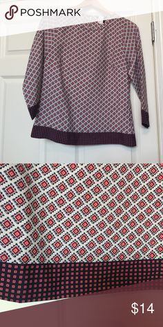 J Crew Factory Geometric Print Top Size S Worn twice and dry cleaned.  In perfect condition!  100% Polyester with 3/4 sleeves. J. Crew Factory Tops Blouses