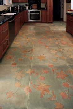 Beautiful stenciled floor - good idea for a polished cement floor! Unique Flooring, Flooring Options, Wooden Flooring, Concrete Floors, Concrete Bathroom, Bathroom Flooring, Kitchen Flooring, Flooring Tiles, Stencil Concrete