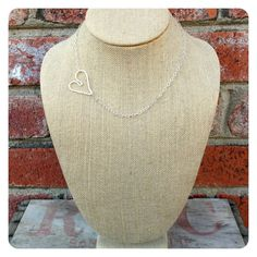 Sterling Silver Asymmetrical Hammered Heart Necklace by jenjems, $48.00