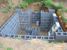Robert's Projects: Root Cellar - pour footer & build walls with 320 cinder blocks
