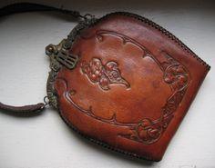 1920's Antique Tooled Art Nouveau Leather Purse