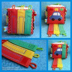 English Living: Developing cube for a boy Baby Sensory, Sensory Toys, Sewing Toys, Baby Sewing, Infant Activities, Book Activities, Baby Quiet Book, Fidget Quilt, Diy Bebe