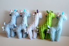 Homemade Giraffe Taggie Baby Toy Chenille Fabric With Assorted Tags. $14.00, via Etsy.