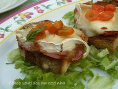 Cinco sentidos na cozinha: Tostas de queijo de cabra com salpicão e tomate - ...