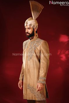 Buy Men's Sherwani-Elegant Pakistani Golden Sherwani for Groom 2021-Men's Wear With Dabka, Zari, Embroidery,Work In USA, UK, Canada, Australia Visit Now : www.NameerabyFarooq.com or Call / Whatsapp : +1 732-910-5427 Sherwani Groom, Mens Sherwani, Work In Usa, Ethnic Outfits, Pakistani Suits, Indian Ethnic, Indian Dresses, Dress Making, Party Wear