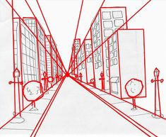Alle Linien treffen sich in der … You can easily draw space by using a vanishing point. All the lines meet in the centre. Perspective Drawing Lessons, Perspective Sketch, One Point Perspective, Space Drawings, Art Drawings, Sketching Techniques, Architecture Sketchbook, Background Drawing, Drawing Exercises