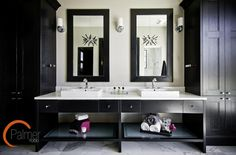 Suzie: Palmer Todd - Ensuite with glossy black cabinets flanking black double bathroom vanity ...