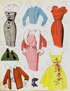 Vintage Connie Francis Paper Doll Page 2; paper dolls, 1950's, 1960's fashion