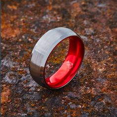 360° View Ring Design Notes 8MM Width Brushed Matte Finish High Polish Beveled Edges Brilliant Anodized Interior Smooth Comfort Fit Tungsten Exterior: The EMBR