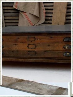 Zinc Topped plan chest coffee table