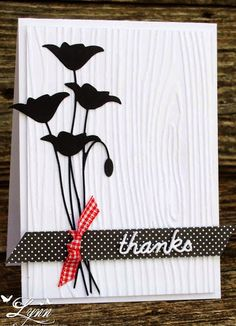 handmade thank you card from Creative Crafts by Lynn ... black and white with a pop of red ... polka dots and gingham... die cut flowers and wood grain embossing folder ... great card!