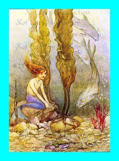 Fairy Tales Mermaid   s506 Fairy Tale Vintage The Little Mermaid by wwwvintagemermaidcom, $3 ...