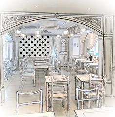 Tokyo's amazing Cafe looks like an illustration, but it's an actual restaurant you can eat in - Japan Today Boutique Interior, Cafe Design, Interior Design, Design Design, Illusion, Deco Restaurant, Modern Restaurant, Tokyo, News Cafe