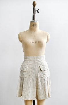 vintage 1930s dashed pastel cotton shorts
