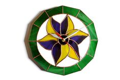 Unique Wall Clock with Flower Lily Motives in Retro by ZangerGlass
