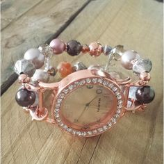 Rose Gold, Brown, Pink and Blush Beaded Watch, Interchangeable
