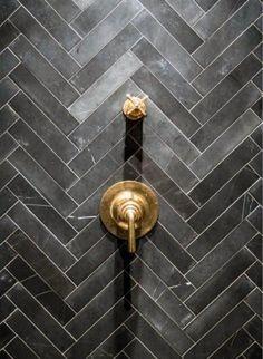 Grey Chevron ~ Soapstone Tiles - Unlacquered Brass Shower Valves Tile for Casitas shower Casas Tudor, Soapstone Tile, Br House, Metro Tiles, Grey Chevron, Chevron Tile, Chevron Bathroom, Geometric Tiles, Herringbone Pattern