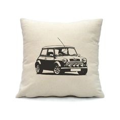 This is mini cooper car decorated pillow cover with hidden zipper at the bottom.    I hand screen printed this in water base ink on durable cotton