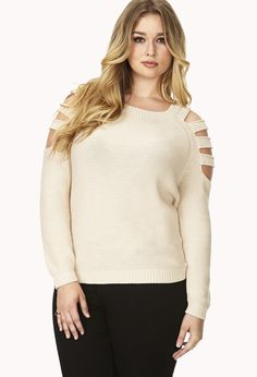 FOREVER 21+ Cutout Shoulder Sweater