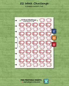 FREE Planner Insert 52 Week Savings Challenge - Sepiida Prints