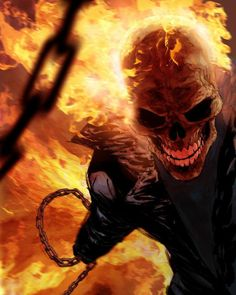 Ghost Rider. Artwork by Ryan Benjamin #SuperheroJr by devilzsmile.com #devilzsmile