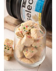 | HEALTHY SUGAR COOKIE FUDGE | Per square: 24 calories, 1f/3c/1.5p Ingredients: 1 box sugar-free pudding mix (such as Jell-O Cheesecake Sugar Free/Fat Free), 1 scoop PEScience Gourmet Vanilla Select Protein, 1/2 c coconut flour, 3/4 c unsweetened applesuace, 2 tbsp. vitafiber or sticky syrup (agave/honey/brown rice syrup), 1 tbsp. coconut oil, melted, 1 egg, 1 tsp. vanilla extract,  stevia to taste, sprinkles CLICK PHOTO FOR FULL RECIPE!
