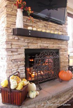 Fall Mantel---Fireplace: Stacked Stone in Mountain Blend. My Uncommon Slice of Suburbia blog. http://www.eldoradostone.com/products/stone/eastern-profiles/mountain-ledge/#/walnut-ridge------lovely!!