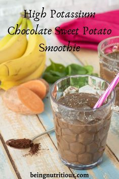 This high potassium smoothie is rich, chocolaty, and so creamy! If you struggle with low potassium - or even if you don't - you will love every last drop! Chocolate Smoothie Recipes, Protein Smoothie Recipes, Juice Smoothie, Healthy Smoothies, Healthy Drinks, Healthy Eats, Sweet Potato Smoothie, High Potassium Foods, Healthy Gluten Free Recipes