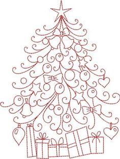 Christmas Redwork Hand Embroidery | Kinship Kreations Embroidery Design: Redwork Christmas Tree 5.69 ...