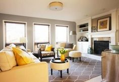 benjamin moore pashmina is a great greige paint colour. One of the best soft grays out there as shown in this living room with yellow