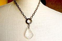 Vintage Chandelier Necklace Crystal Chandelier by tresundesigns, $35.00