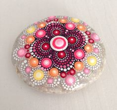 Dot Art Mandala Painted Stone Fairy Garden Gift  Decoration Painted rock Beachstone