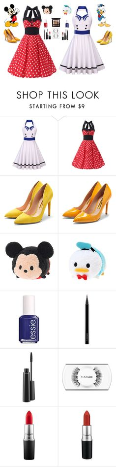 """""""BFF's: Mickey Mouse and Donald Duck"""" by mrsstylik1999 ❤ liked on Polyvore featuring Disney, Rupert Sanderson, Essie and MAC Cosmetics"""
