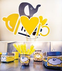 Yellow and gray elephant baby shower with FREE printables @Amy Bennett @Mallory Mcshane