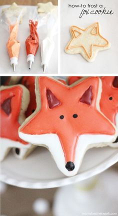Cute fox cookies using a star cutter. Could also make it into a raccoon or skunk.
