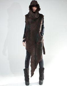 Post-apocalypse clothing / fashion / post-apocalyptic wear / dystopian / looks / style / Moda Cyberpunk, Cyberpunk Fashion, Looks Style, Looks Cool, Apocalypse Fashion, Post Apocalypse, Brown Wool Coat, Dystopian Fashion, Post Apocalyptic Fashion