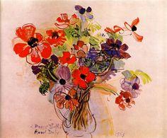 Anemones, 1953-Raoul Dufy - by style - Naïve Art (Primitivism)