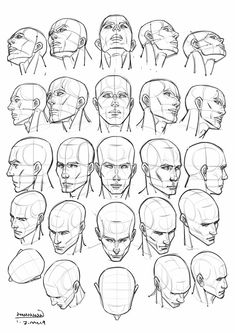 Practice by Pixel Brush ArtstudioDaily practice Male Face Drawing, Drawing The Human Head, Profile Drawing, Drawing Heads, Human Figure Drawing, Guy Drawing, Drawing Practice, Art Drawings, Body Reference Drawing