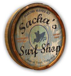 Surf Shop - Personalized Color Quarter Barrel Sign