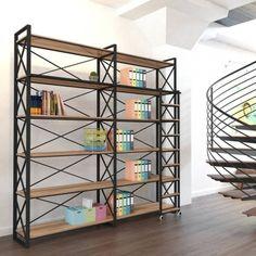 Endüstriyel Tasarım Başak Merdivenli Kütüphane